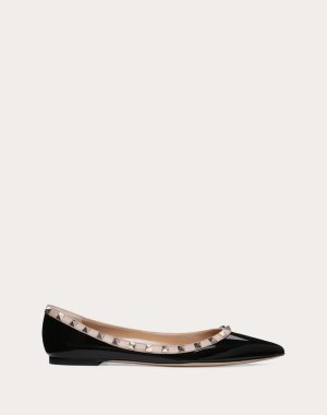 Patent Rockstud Ballet Flat for Woman   Valentino Online Boutique