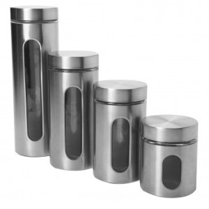 Anchor Hocking4pc Palladian Canister Set w/ Window in Stainless
