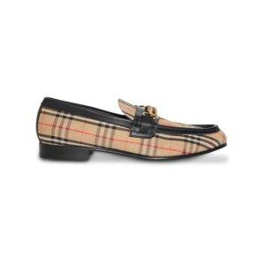 Burberry格纹乐福鞋