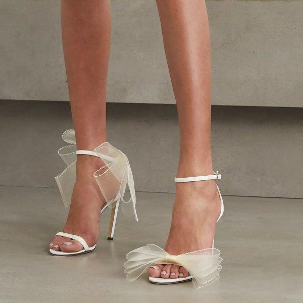 蕾丝蝴蝶结高跟鞋