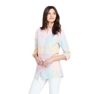 Lands' EndWomen's Pattern Roll Sleeve Linen Tunic Top