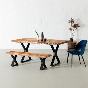 Acacia Live Edge 餐桌 X形桌腿设计