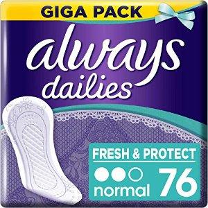 低至€2.46屯76片 姐妹们还犹豫什么Always 持久干爽护垫 76片装 好价热卖 相当于不要钱