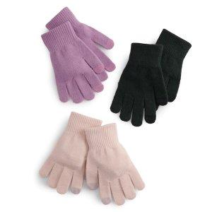 女士手套3双