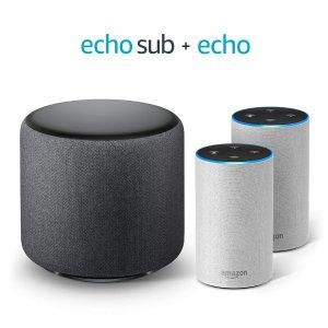 $249.97 (原价$329.97)Echo Sub 低音炮 + Echo 2代智能音箱1对