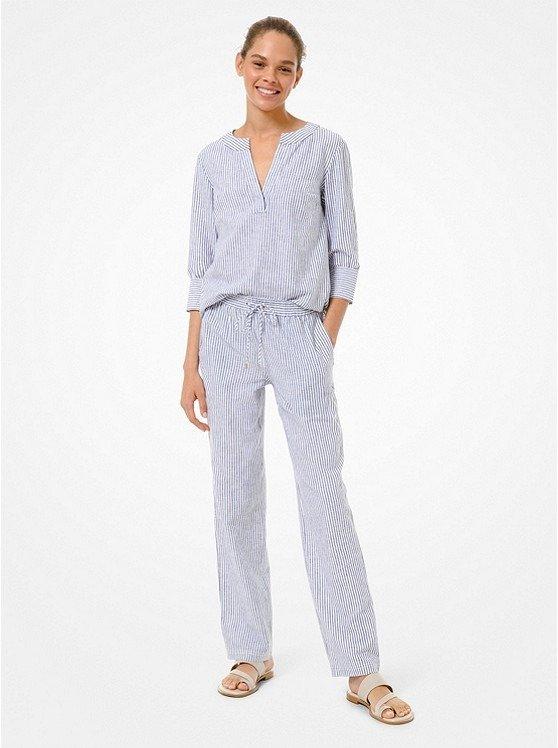 棉质条纹长裤