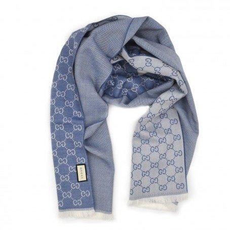 老花羊毛围巾 蓝
