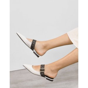 Charles & KeithChalk Studded Buckle Slip ons 平底鞋 | CHARLES & KEITH