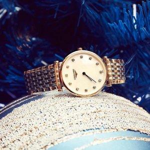 $1119 (原价$1675) 官网原价LONGINES La Grande Classique 镶钻珍珠母贝时装女表
