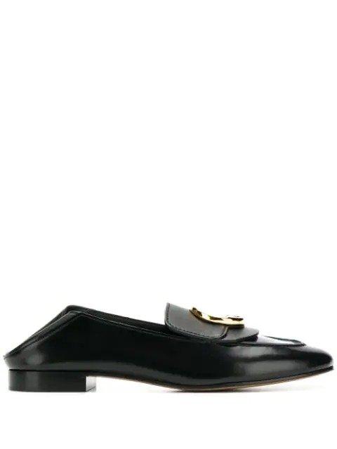 黑色logo乐福鞋