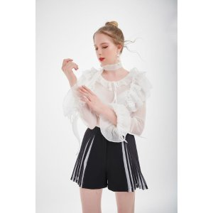 MissLondoner满£120额外85折白色莎莎雪纺上衣