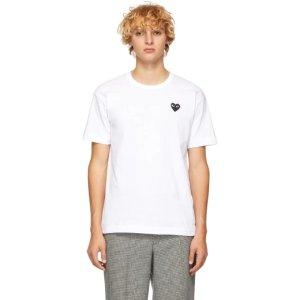Comme des Garcons Play- White & Black Heart Patch T-Shirt