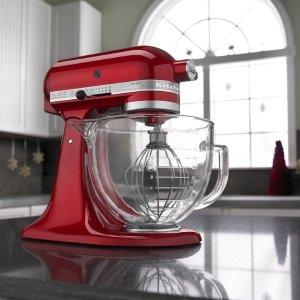 $239.99闪购:KitchenAid KSM155 5夸可抬头式搅拌机带玻璃碗,红色
