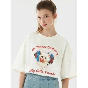 100%全棉!手洗!白色猫咪T恤