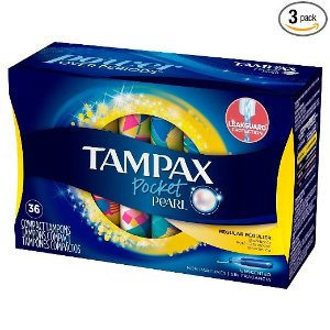 $8.87Tampax Pocket Pearl Plastic Tampons, Regular Absorbency, Unscented, 36 Count - Pack of 3 (108 Total Count)