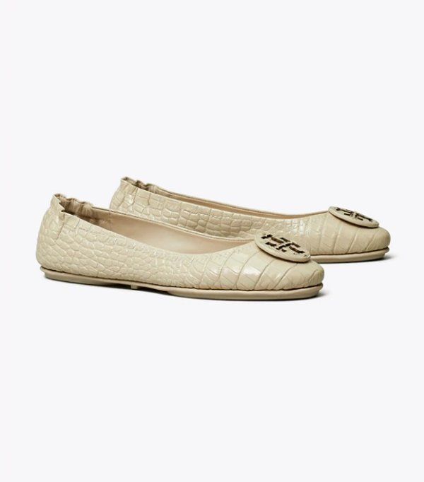 Minnie 压纹平底鞋