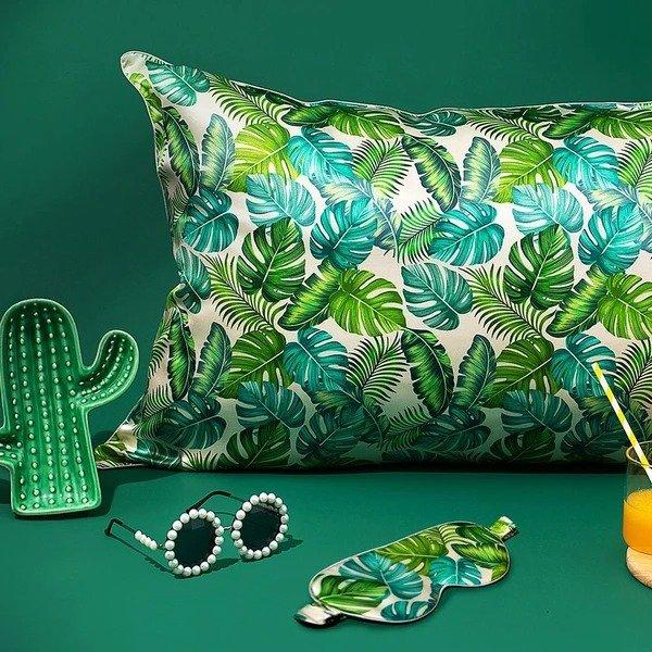 19姆米绿植真丝眼罩枕套组合