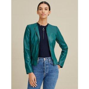 Wilsons LeatherSmooth Faux-Leather Peplum Jacket