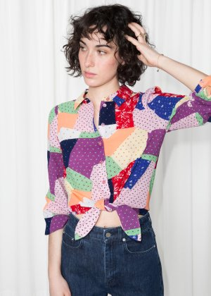 Patchwork Tie Button Down - Patchwork Print - Blouses - & Other Stories