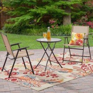 $37.66史低价:Mainstays 可折叠式庭院桌椅3件套