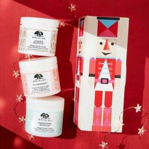 限时7折+送5件套礼包 €24收封面3件套Origins 悦木之源 疯狂宠粉 超值收圣诞护肤套装、王牌菌菇系列