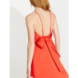 HalstonBow Back Bonded Satin Dress