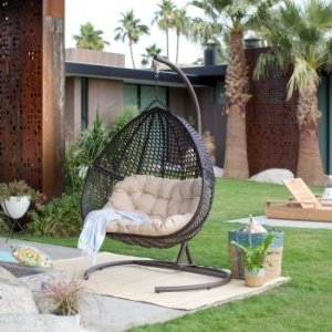 Belham LivingSamos Resin Wicker Hanging Double Egg Chair with Cushion and Stand