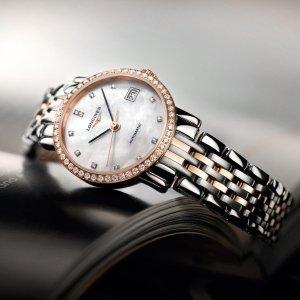 额外减$50 $2745+免税独家:浪琴博雅18K玫瑰金镶钻珍珠母贝机械女表