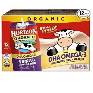 $12.01Horizon Organic Low Fat Organic Milk Box Plus DHA Omega-3, Vanilla, 8 Ounce (Pack of 12)
