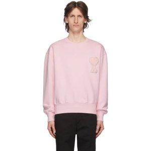 Ami Alexandre MattiussiSSENSE Exclusive Pink Ami De Coeur Sweatshirt