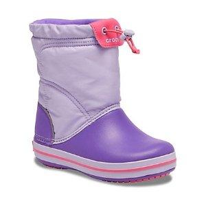 Crocs儿童抽绳雪地靴  薰衣草色