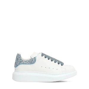 Alexander McQueen雾霾蓝水晶尾小白鞋