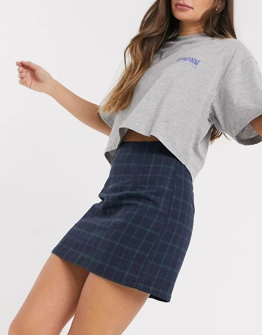 tailored mini格纹裙