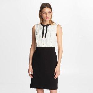 COLOR BLOCK TIE FRONT SWEATER DRESS