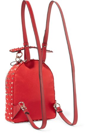 Valentino | Valentino Garavani The Rockstud Spike leather-trimmed quilted satin-twill backpack  | NET-A-PORTER.COM