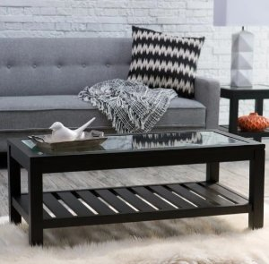 $112Sutton Glass Top Coffee Table with Slat Bottom