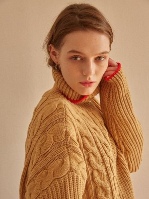 Tres Unbalance Turtleneck Sweater Camel Red  | W Concept