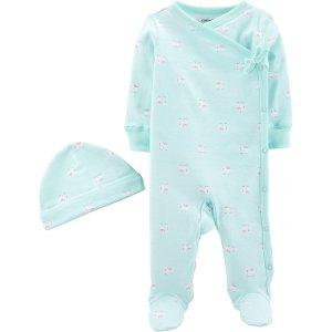 Carter's2-Piece Elephant Side-Snap Cotton Sleep & Play & Cap Set