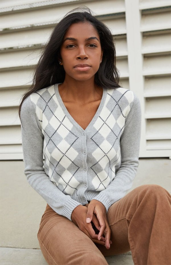 菱格针织衫