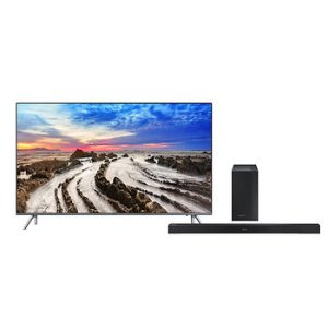 Samsung UN55MU800D 4K HDR TV + Sound Bar + $100 GC