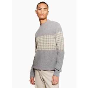 TopmanSELECTED HOMME Grey Houndstooth Sweater