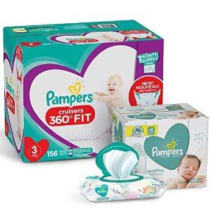 Pampers$10 offDiapers Size 3 - Cruisers 360˚ Fit Disposable Baby Diapers with Stretchy Waistband, 156 Count ONE Month Supply with Baby Wipes Sensitive 6X Pop-Top Packs, 336 Count
