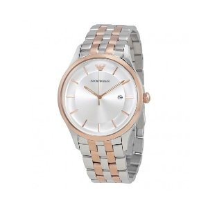 Emporio Armani玫瑰金&银色不锈钢材质男士手表