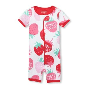 The Children's PlaceBaby And Toddler Girls Short Sleeve 'Mommy's Little Sweetie' Strawberry Print Cropped Snug Fit Stretchie