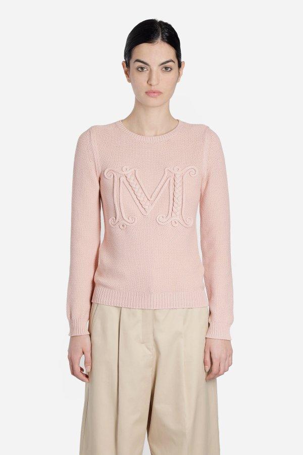 粉色logo针织衫