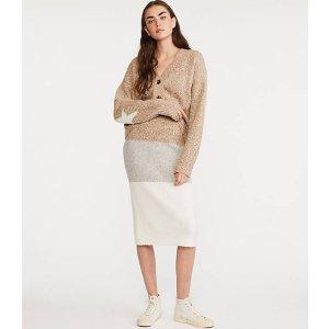 LOU & GREYStripemarl Midi Sweater Skirt