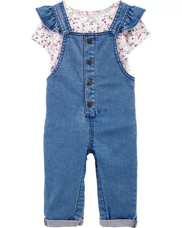 婴儿包臀衫+牛仔连体裤套装