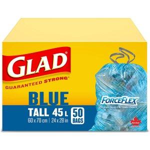 $7.57(原价$9.99)Glad 可回收垃圾袋45升*50只 结实耐用 抽绳袋口防漏好提拉