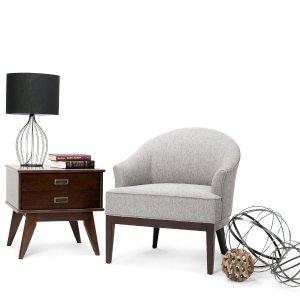 Simpli HomeLouise Tub Chair in Grey