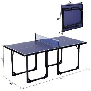 Aosom Multi-Use Foldable Midsize Compact Table Tennis Set Ping Pong Table w/ Net by Aosom